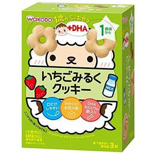 Wakodo和光堂 婴儿DHA草莓牛奶花朵曲奇宝宝磨牙饼干 3袋*6个