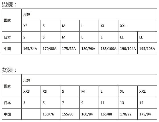 日本衣服鞋子尺码对照表