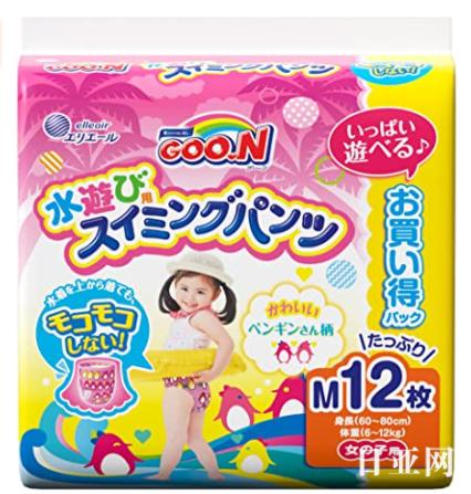 GOO.N大王 女款游泳短裤式纸尿裤M12枚(7~12kg)
