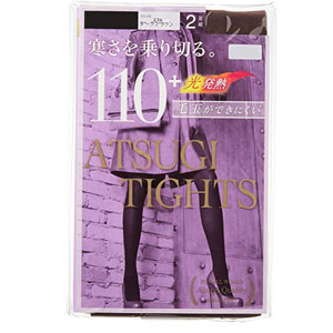 ATSUGI厚木 发热连裤袜110D 2条*3袋装 黑色 M-L码